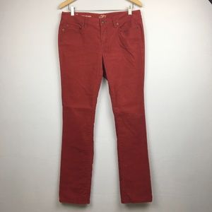 LOFT modern straight corduroy pants in red